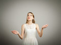 Juggle girl in white is juggling concentration concept Stock Photography