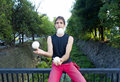 Juggler male making a juggling performance on the street Stock Photo