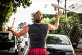 A juggler performing on the street ribeirao preto brazil february while cars are stopped by red light Stock Image