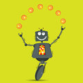 Juggling robot vector illustration of cartoon balls Stock Photos