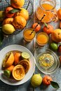 Juice of assorted citrus fruit, oranges, lemons, tangerines, lime, clementines Royalty Free Stock Photo