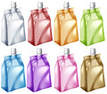 Juice bags in different colors Royalty Free Stock Photo