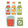 Juice in bottles and preserves in jars poster