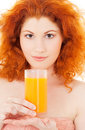 Juice bright picture of lovely woman with glass of Royalty Free Stock Images