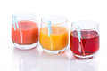 Juice of different colors Royalty Free Stock Photo