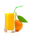 Juice glass and orange fruit on white Royalty Free Stock Photography