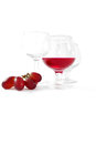 Juice and grape three glasses one fill with fresh jelly color grapes Stock Photography