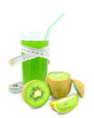Juice with kiwi and meter on white background Royalty Free Stock Photos