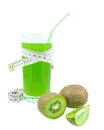 Juice with kiwi and meter on white background Royalty Free Stock Image