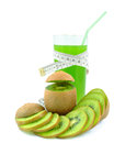 Juice with kiwi and meter on white background Royalty Free Stock Photography