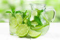 Juice with lime and mint Royalty Free Stock Photo