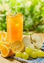 Juice, orange, apple, grape and lemon Royalty Free Stock Images