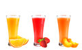 Juice from orange, strawberry and a peach Royalty Free Stock Photo