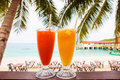Juice on paradise beach two glasses of Stock Photo