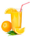 Juice with red tube Royalty Free Stock Images