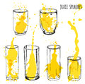 Juice splashes in glasses, hand draw illustration