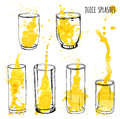 Juice splashes in glasses, hand draw illustration