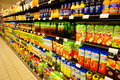 Juice variation of juices at the pior i pawel supermarket in poznan poland Royalty Free Stock Image