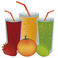 Juices and fruits three different with three different in white background Stock Images