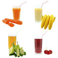 Juices from fruits and vegetables juice on a white background Royalty Free Stock Photos