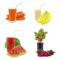 Juices from fruits and vegetables juice on a white background Royalty Free Stock Images