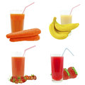 Juices from fruits and vegetables juice on a white background Stock Image