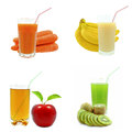 Juices from fruits and vegetables on a white background Royalty Free Stock Image