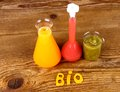 Juices from test tube biochemistry concept top view Royalty Free Stock Photo