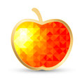 Juicy apple on white polygonal design with gold border Royalty Free Stock Photography