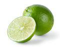 Juicy fragrant lime isolated on white background Stock Photos