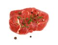 Juicy, fresh beef steak with spices, top view Royalty Free Stock Photo