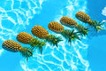 Juicy Fruit. Fresh Organic Pineapples In Pool. Healthy Food, Nut Royalty Free Stock Photo