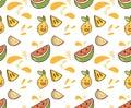 Juicy fruit kawaii background