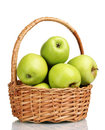 Juicy green apples in the basket Stock Photo