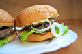 Juicy homemade burger Royalty Free Stock Photo