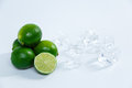 Juicy limes on a white background Royalty Free Stock Photo
