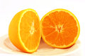 Juicy orange on a plate cut in half and delicious first sight plane white background Stock Photos