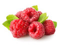 Juicy raspberry with green leaf on white Royalty Free Stock Images