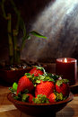 Juicy Red Strawberries in a Wood Bowl Royalty Free Stock Images