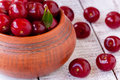 Juicy ripe cherry on a white wooden background rustic Royalty Free Stock Photography