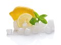 Juicy ripe lemon mint and cubes of ice the isolated on white Royalty Free Stock Photo