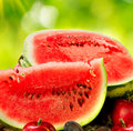 Juicy ripe organic watermelon closeup Royalty Free Stock Photo