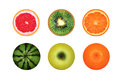 Juicy round fruits isolated on a white background, grapefruit, watermelon, kiwi, apple orange