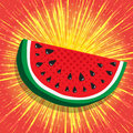 Juicy slice of watermelon. Yellow, shiny radial rays speed lines on bright red background. Abstract background, vector Royalty Free Stock Photo