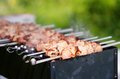 Juicy slices of meat prepare on fire with sauce kebab Royalty Free Stock Photos