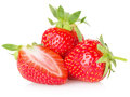 Juicy strawberries isolated on the white background Royalty Free Stock Photo