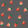 Juicy strawberry on grey seamless vector texture Stock Image