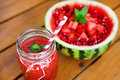 Juicy watermelon and fresh smoothie decorated with heart pieces Royalty-vrije Stock Foto