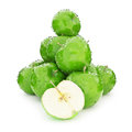 Juicy wet group of green apples on a white background Stock Photography
