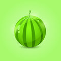 Juicy whole watermelon on green background icon Royalty Free Stock Photos